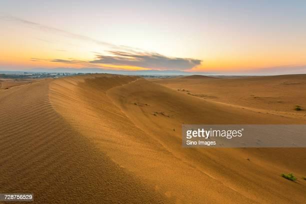 sand dunes in desert at sunset, dubai, united arab emirates - image stock pictures, royalty-free photos & images
