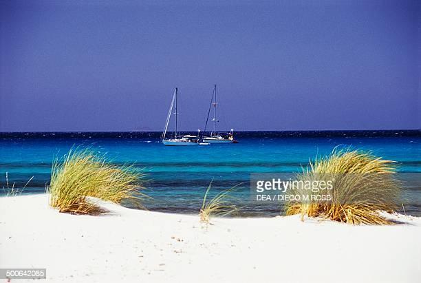 Sand dunes on Porto Pino beach Sant'Anna Arresi Sardinia Italy
