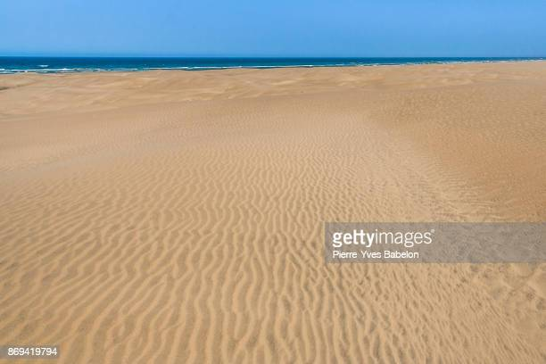 Sand dunes plunging into the sea