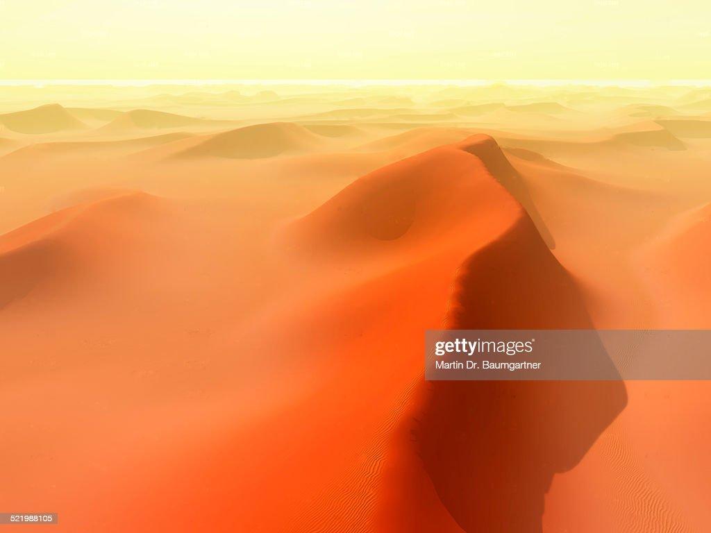 Sand dunes, sand storm, Huacachina, Ica, Atacama Region, Peru