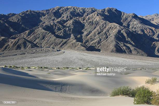 Sand dunes with ripples of Mesquite Flats with the alluvial fan of the Panamint Range as backdrop, Death Valley, California, USA