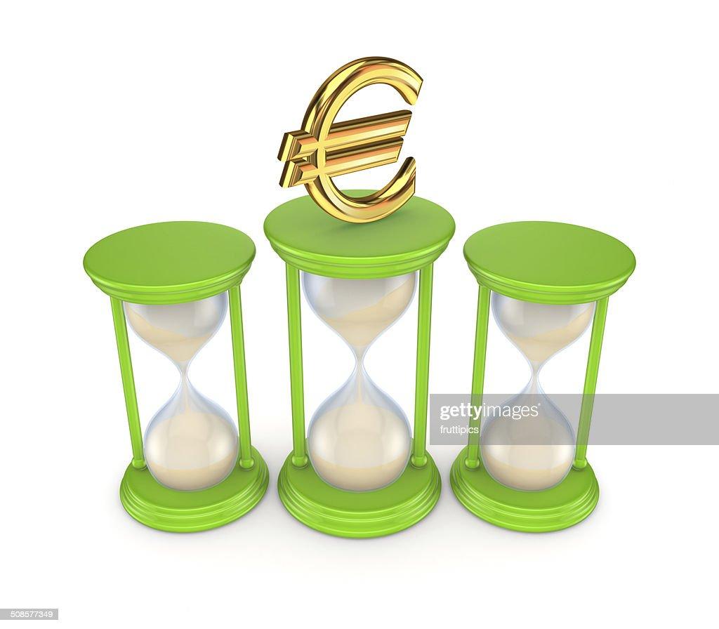 Sand glasses and euro symbol. : Stockfoto