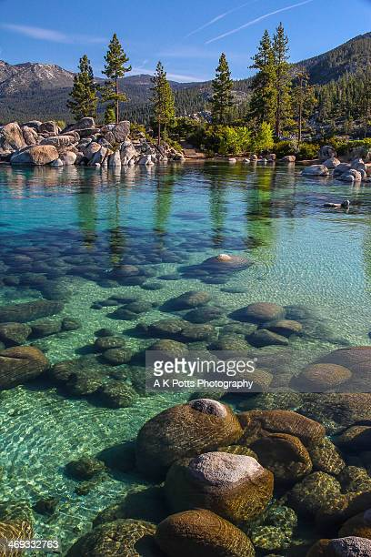 sand harbor-emerald waters - lake tahoe stock photos and pictures