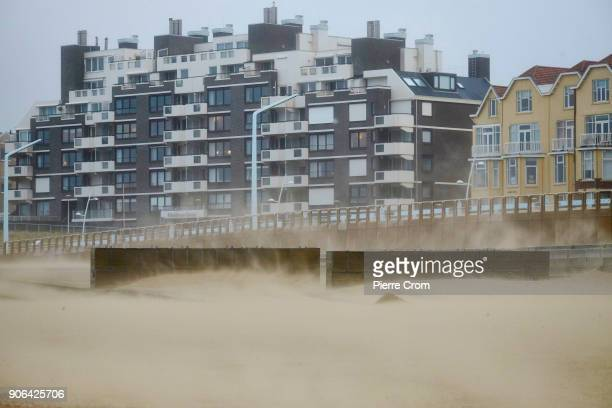 Sand is blown as a hurricaneforce storm blows galewinds of up to force 12 in The Hague on January 18 2018 in The Hague Netherlands The Dutch...