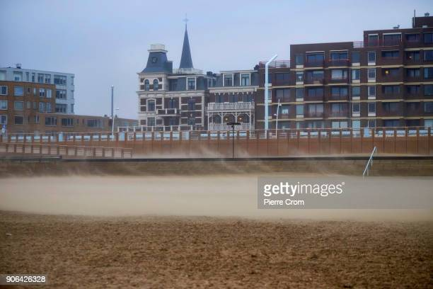 Sand is blown as a hurricaneforce storm blows galewinds up to force 12 in The Hague on January 18 2018 in The Hague Netherlands The Dutch authorities...