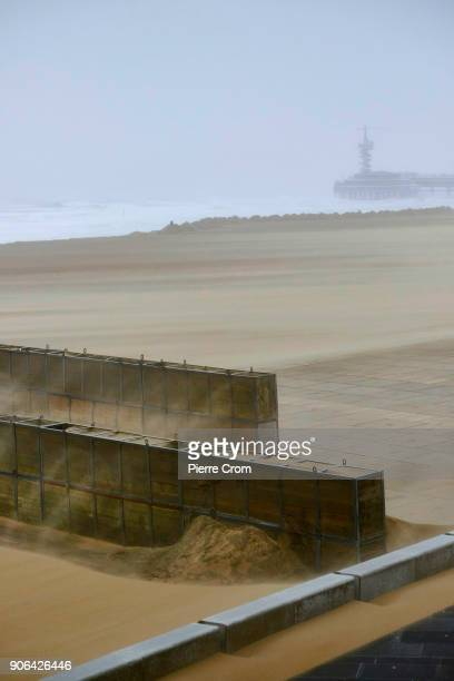 Sand is blown as a hurricaneforce storm blows galewinds up to force 12 on January 18 2018 in The Hague Netherlands The Dutch authorities issued a...