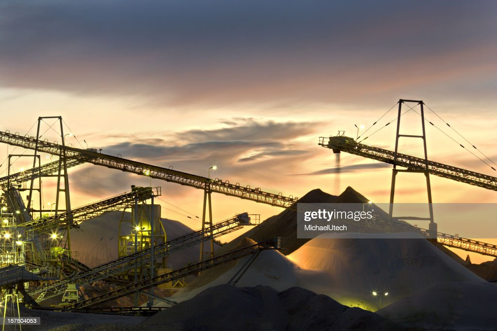 Sand Plant Conveyor Belts With Moody Sky : Stock Photo