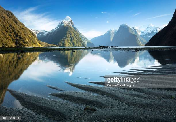 sand ripples at milford sound, new zealand - south island new zealand stock pictures, royalty-free photos & images
