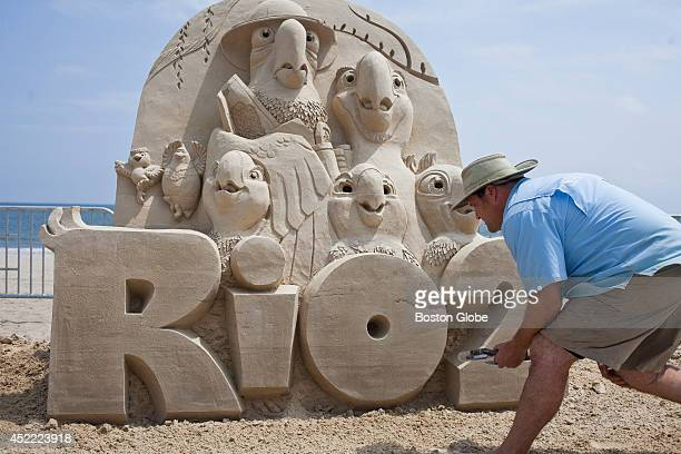 Sand sculptor Rusty Croft star of Travel Channel's Sand Master puts the finishing touches on his Rio 2 sand sculpture in preparation for the Revere...