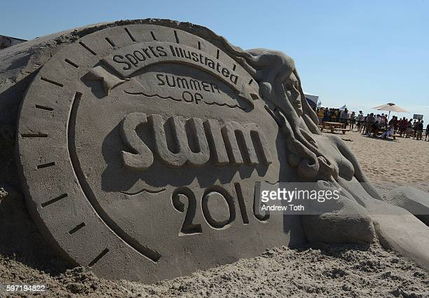 Sand sculpture is seen at Sports Illustrated Swimsuit Summer of Swim Fan Festival and Concert at Coney Island Beach and Boardwalk on August 28 2016...