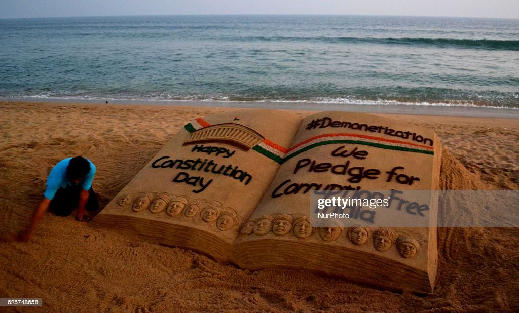 Sand art about the Demonetisation in India : News Photo