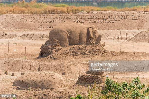 Sand sculpture of an elephant in Vientiane in Vientiane, Laos