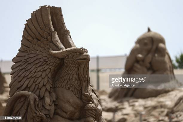 Sand sculptures are displayed during the 14th International Antalya Sand Sculpture Festival in Antalya Turkey on May 22 2019 Approximately 200 sand...