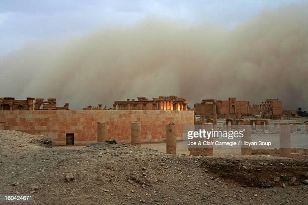 Sand storm engulfing Palmyra.