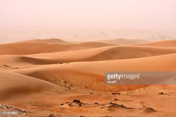 sand storm in the dunes near dubai