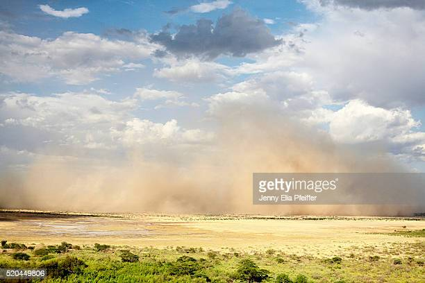 sand storm moving across landscape - dust storm stock pictures, royalty-free photos & images