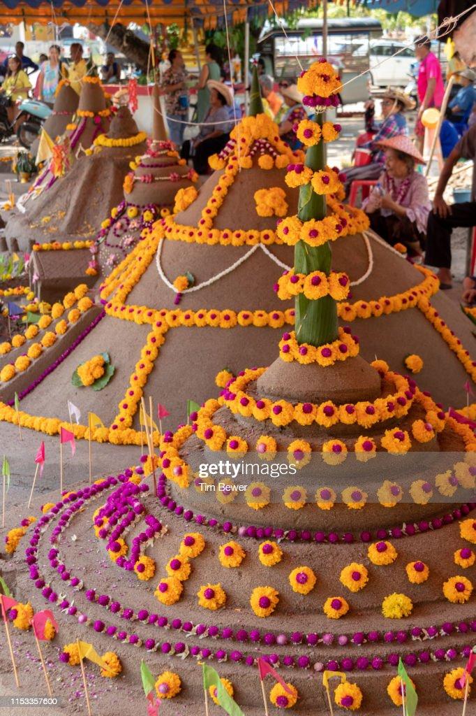Sand stupas for the Songkran festival. : Stock Photo
