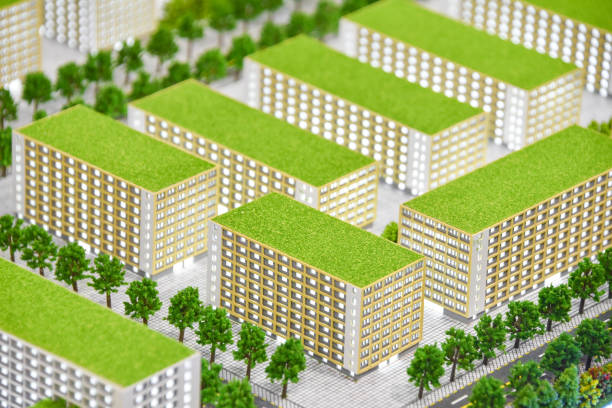 Sand table model of industrial factory building or industrial factory district.