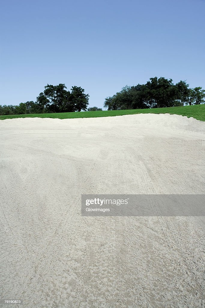 Sand trap in a golf course : Foto de stock
