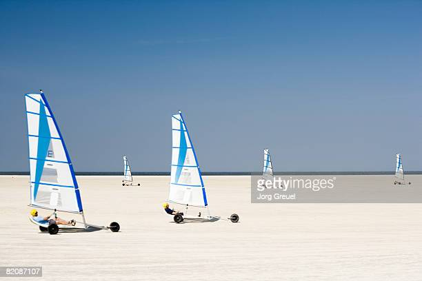 sand yachting on beach - schleswig holstein stock pictures, royalty-free photos & images