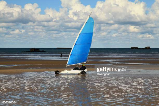 sand yachting on gold beach - arromanches stock pictures, royalty-free photos & images