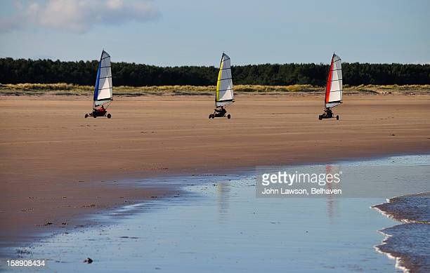 Sand yachting or land sailing, Belhaven Bay