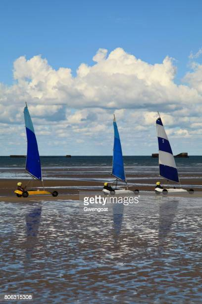 sand yachting race on gold beach - arromanches stock pictures, royalty-free photos & images