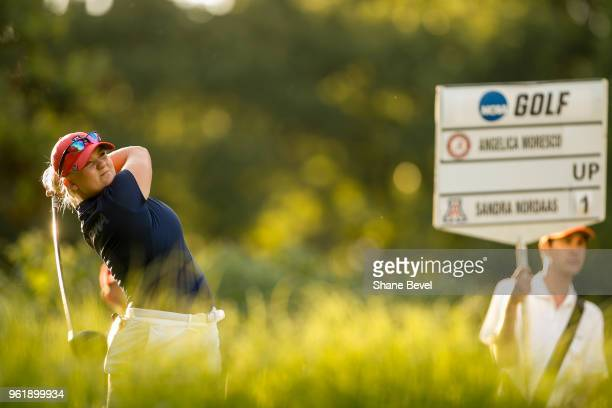 Sanda Nordaas of Arizona tees off on the 18th hole during the Division I Women's Golf Team Match Play Championship held at the Karsten Creek Golf...