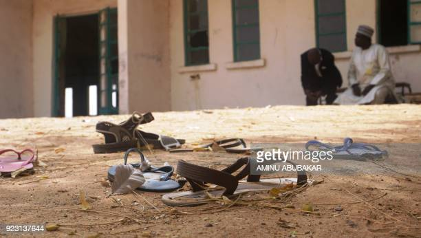 Sandals are strewn in the yard of the Government Girls Science and Technical College staff quarters in Dapchi Nigeria on February 22 2018 Anger...
