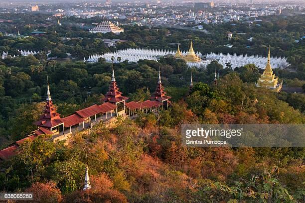 sandamuni pagoda view from mandalay hill, mandalay, myanmar - stupa stock pictures, royalty-free photos & images