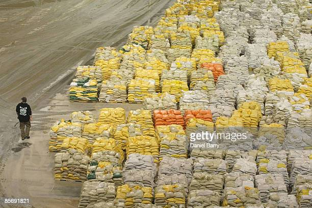 Sandbags are stockpiled that are needed to patch leaks in dikes and levees March 29 2009 in Fargo North Dakota As flood waters from the Red River...