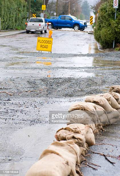 Sandbags on Road