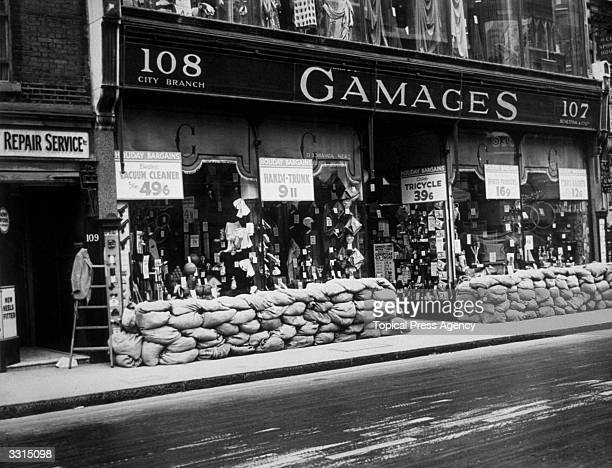 Sandbags outside Gamages store at Cheapside in the City of London.