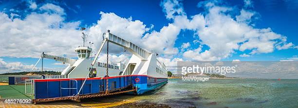 sandbanks ferry across poole harbour from bournemouth to studland dorset - peninsula stock pictures, royalty-free photos & images