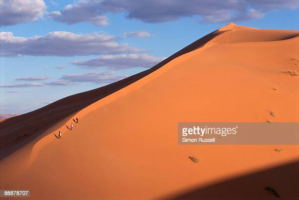 Sandboarders hike up Erg Chebbi, Morocco
