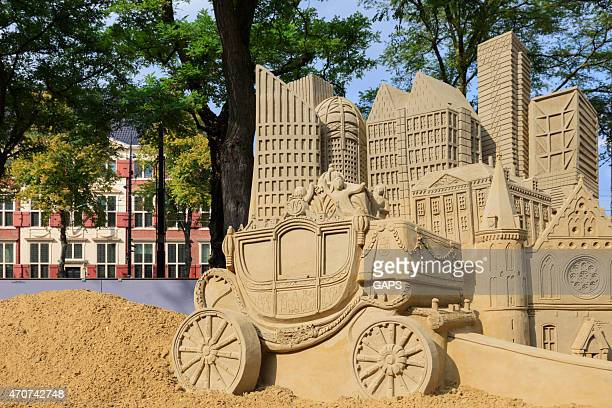 sandcastles on buitenhof in the hague - prinsjesdag stock photos and pictures