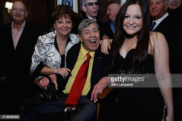 SanDee Pitnick Jerry lewis and Dani Lewis attend 90th Birthday Of Jerry Lewis at The Friars Club on April 8 2016 in New York City
