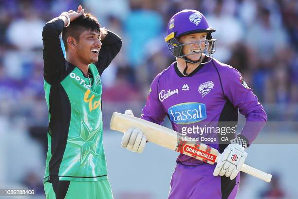 Sandeep Lamichhane of the Stars reacts as George Bailey of the Hurricanes scores of his bowling during Hobart Hurricanes v Melbourne Stars Big Bash...