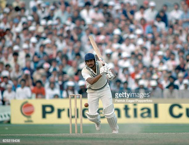 Sandeep Patil batting for India during the Prudential World Cup Semi Final between England and India at Old Trafford Manchester 22nd June 1983