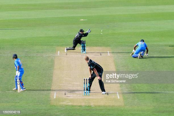 Sandeep Warrier of India A is bowled by Kyle Jamieson of New Zealand A during the One Day International match between New Zealand A and India A at...