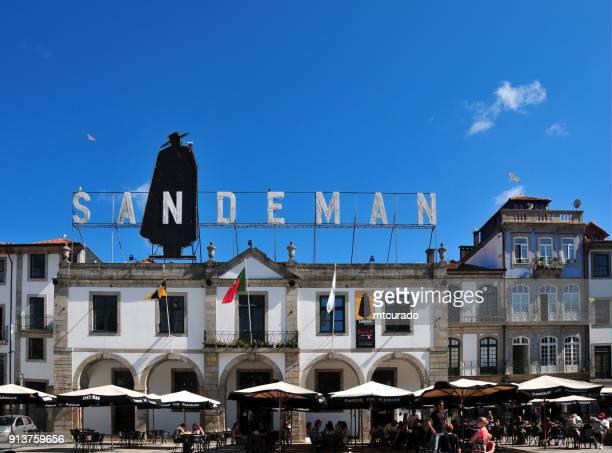 Sandeman Port wine company building pavement café, Vila Nova de Gaia Douro river waterfront -  Portugal