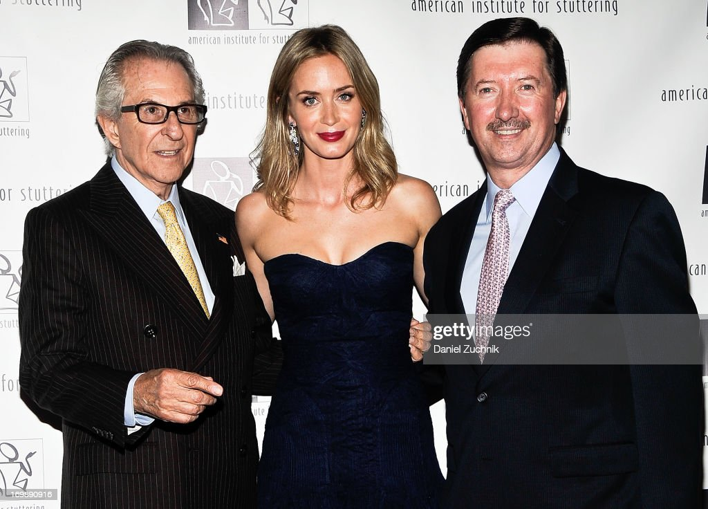Sander A. Flaum, Emily Blunt and Tony Hooper attend the 7th Annual 'Freeing Voices, Changing Lives' Benefit Gala at Tribeca Rooftop on June 3, 2013 in New York City.