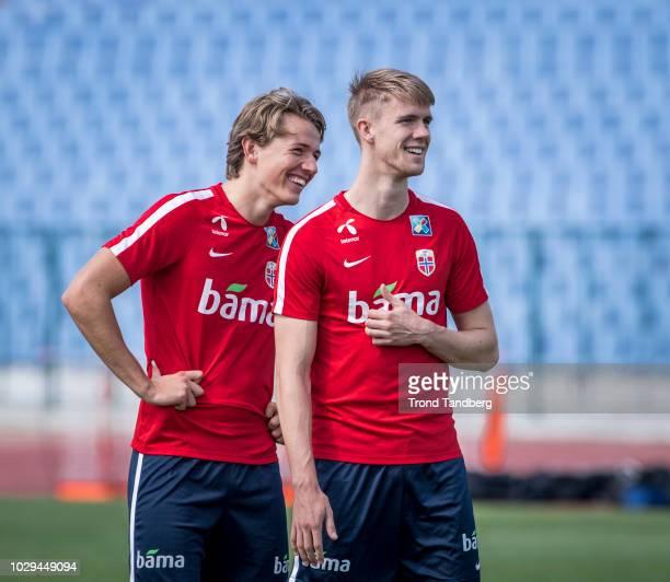 Sander Berge Kristoffer Ajer of Norway during training at Vasil Levski Stadion on September 8 2018 in Sofia Bulgaria