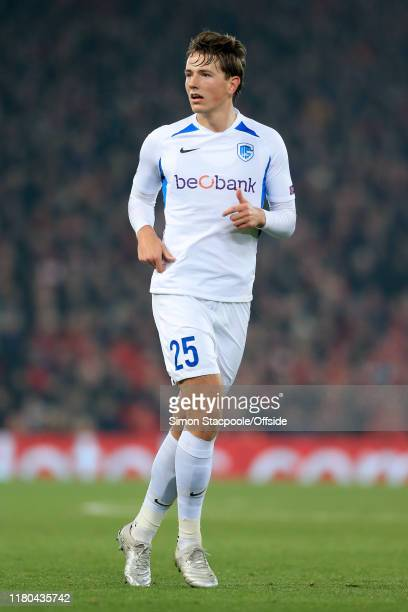 Sander Berge of Genk looks on during the UEFA Champions League group E match between Liverpool FC and KRC Genk at Anfield on November 5 2019 in...