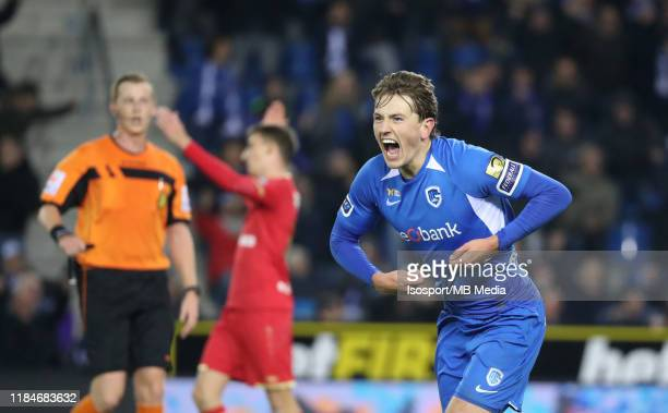 Sander Berge of Krc Genk celebrates after scoring a goal during the Jupiler Pro League match between KRC Genk and Royal Antwerp FC at Luminus Arena...