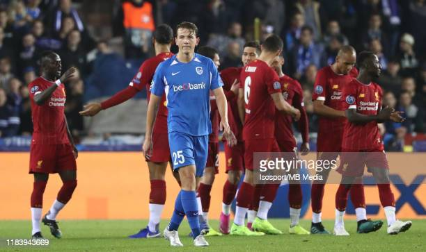 Sander Berge of Krc Genk looks dejected during the UEFA Champions League group E match between KRC Genk and Liverpool FC at Luminus Arena on October...