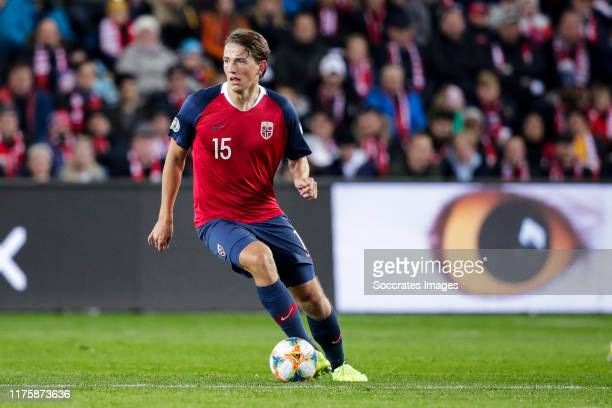 Sander Berge of Norway during the EURO Qualifier match between Norway v Spain at the Ullevaal Stadion on October 12 2019 in Oslo Norway