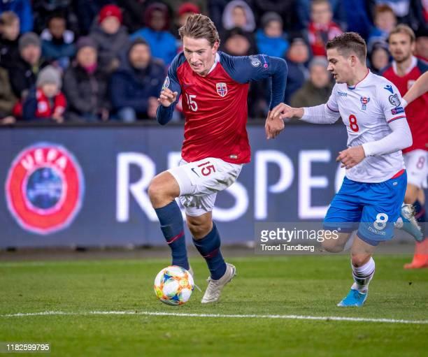 Sander Berge of Norway during the UEFA Euro 2020 Qualifier between Norway and Fareoe Islands on November 15 2019 in Oslo Norway