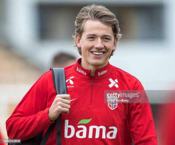 Sander Berge of Norway during training before the UEFA Nations League C group three match between Norway and Slovenia at Aaraasen on October 9 2018...