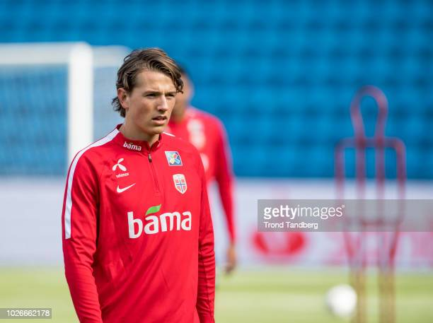Sander Berge of Norway during training session at Ullevaal Stadion on September 4 2018 in Oslo Norway